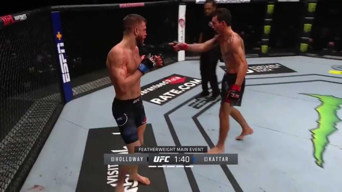 Max Holloway vs Calvin Kattar full fight video highlights from UFC Fight Island 7