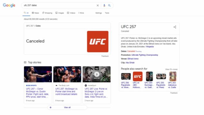 UFC 257 cancelled on Google Search