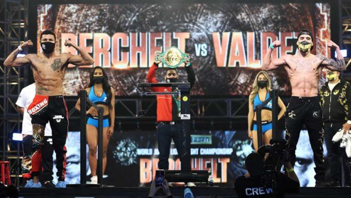 Miguel Berchelt vs Oscar Valdez weigh-in