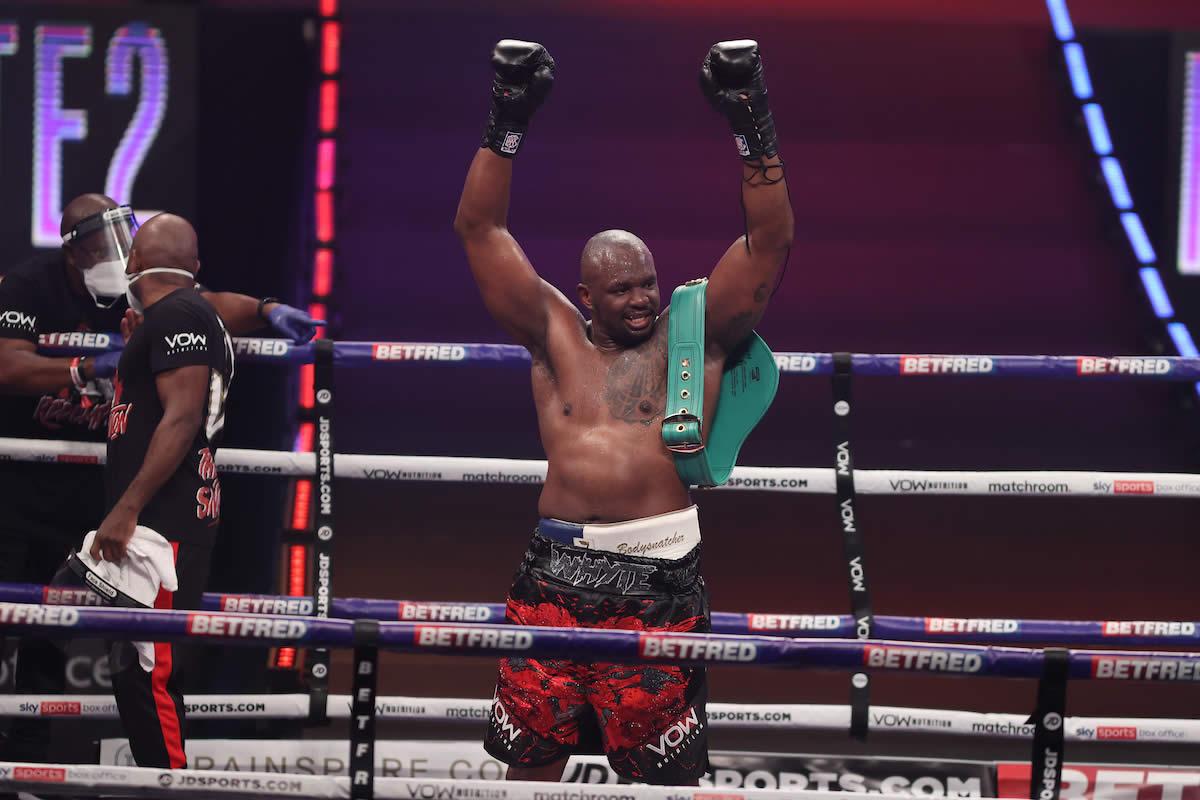 Dillian Whyte celebrates victory