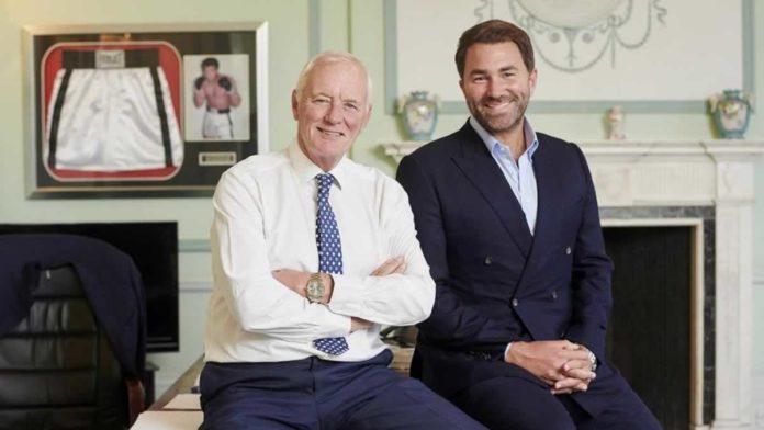 Barry Hearn OBE with Eddie Hearn