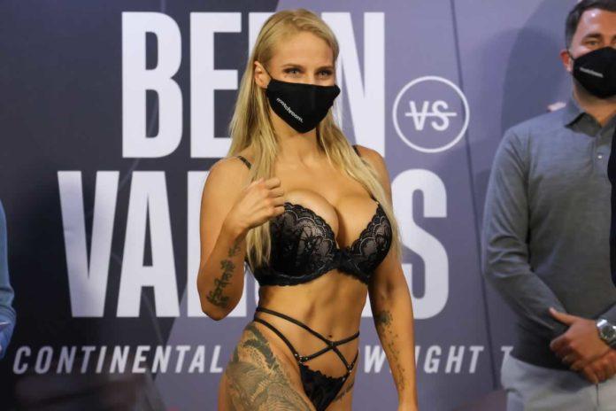 Ebanie Bridges weighs-in for Shannon Courtenay world title fight