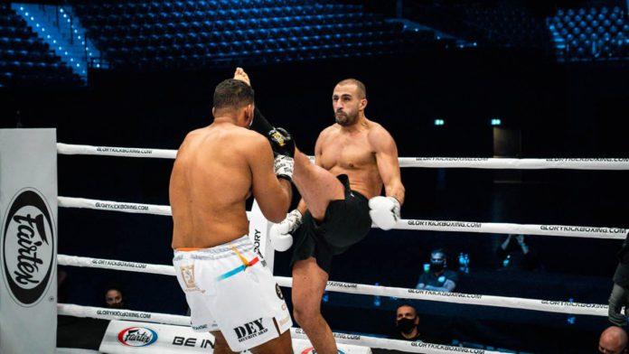 Badr Hari in GLORY kickboxing action