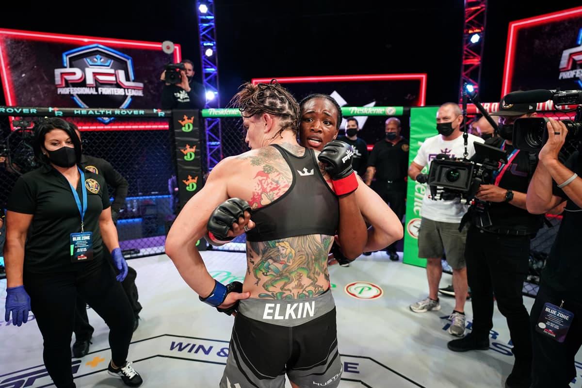 Claressa Shields and Brittney Elkin post-fight
