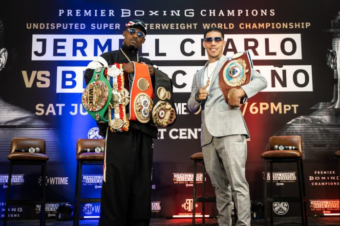 Jermell Charlo and Brian Castano at press conference