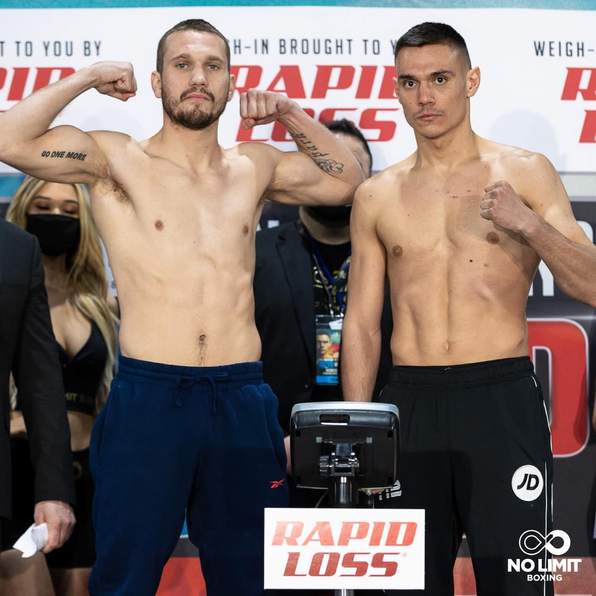 Steve Spark and Tim Tszyu at the weigh-ins