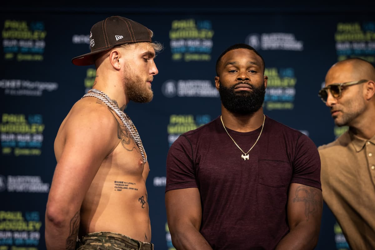 Jake Paul and Tyron Woodley at final pre-fight press conference