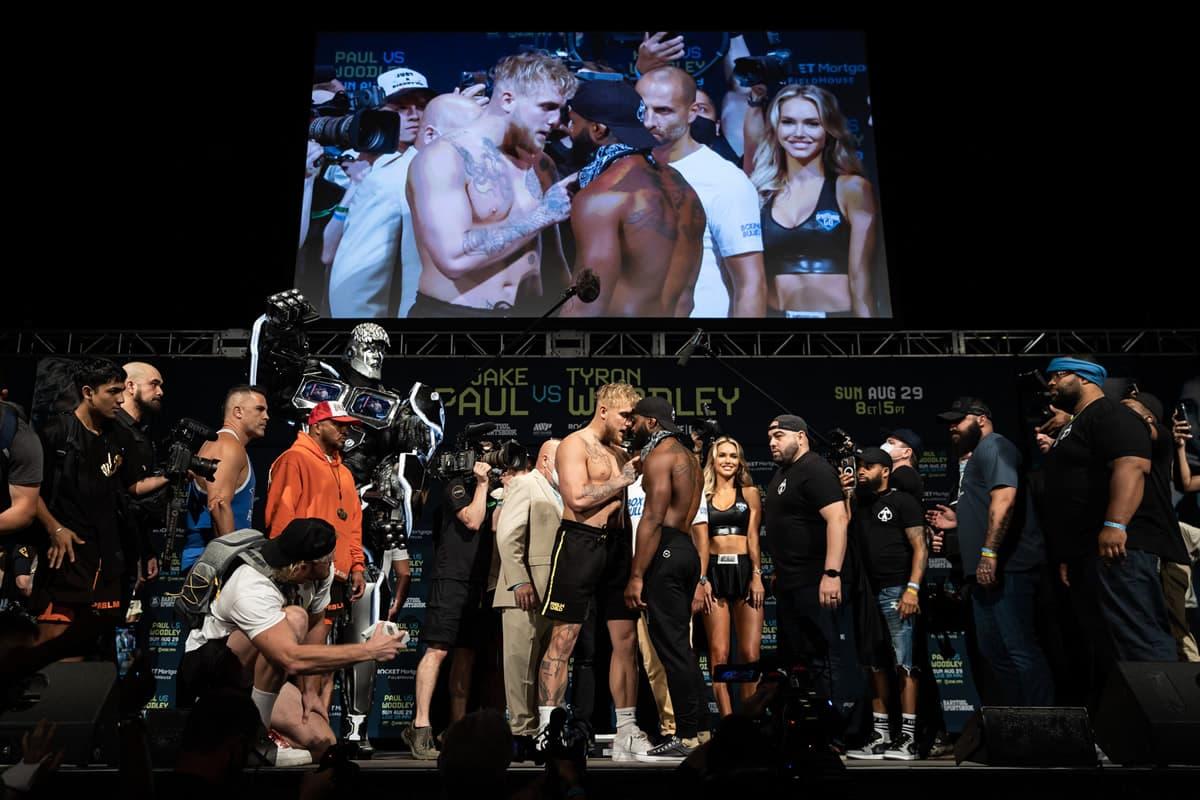 Jake Paul vs Tyron Woodley faceoff