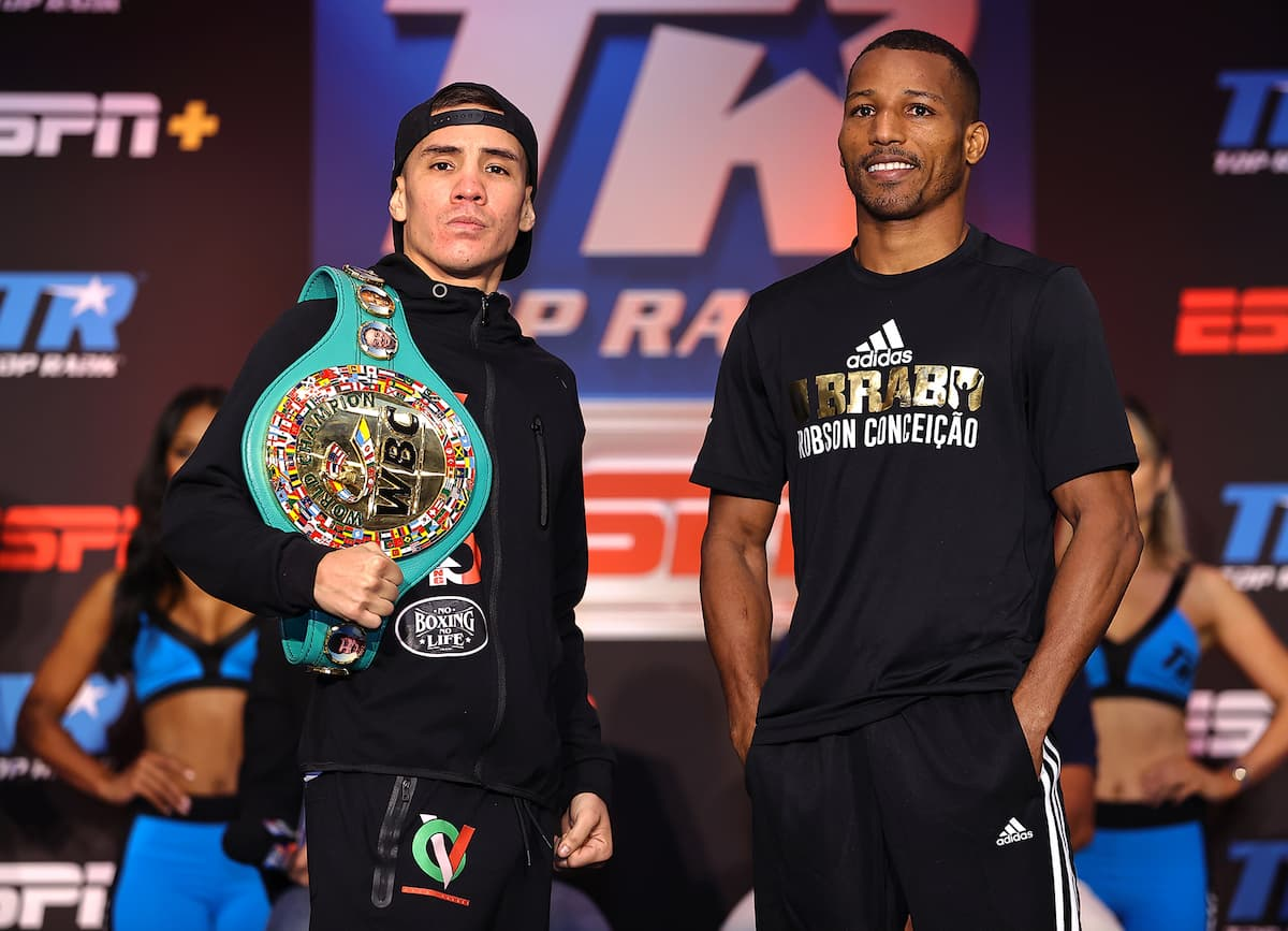 Oscar Valdez and Robson Conceicao at press conference